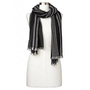 Embroidered stripe fringe-trim scarf