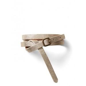 Metallic skinny suede belt
