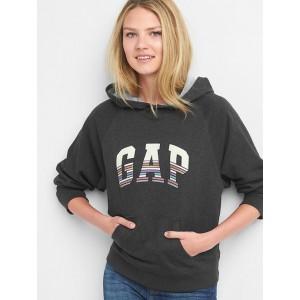 Stripe logo pullover hoodie