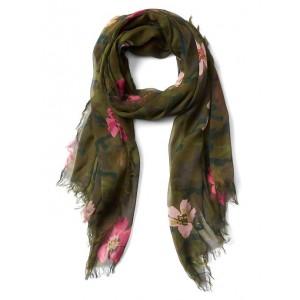 Camo floral fringe scarf