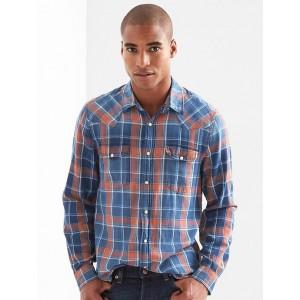 Denim plaid standard fit western shirt