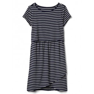 Maternity stripe nursing t-shirt dress