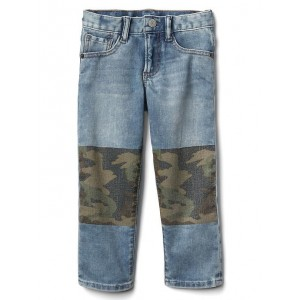 High stretch knee patch slim jeans