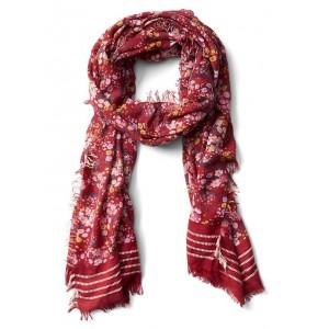 Floral stripe fringe scarf