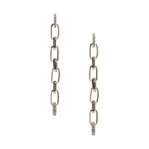 Linear Pavé Link Earrings