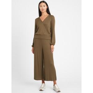Ribbed-Knit Wide-Leg Lounge Pant