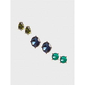 Gemstone Stud Earrings Set