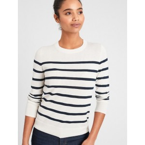 Petite Washable Forever Striped Crew-Neck Sweater