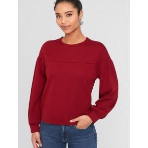 Balloon-Sleeve Fleece Sweatshirt