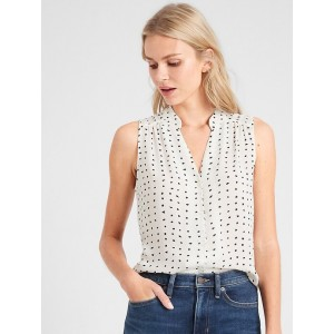 Petite Drapey Classic Notched Collar Blouse