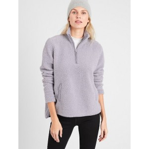 Petite Sherpa Half Zip Sweatshirt