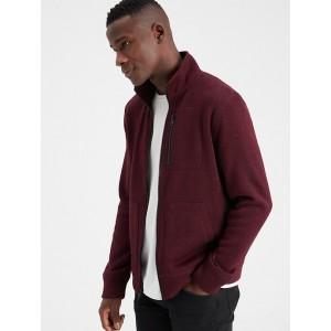Marled Fleece Mock-Neck Jacket