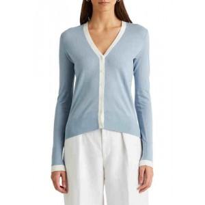 Two-Tone Cotton-Modal Cardigan Sweater