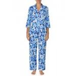 3/4 Sleeve Notch Collar Pajama Set