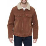 Faux Suede Trucker Jacket with Sherpa Lining and Collar