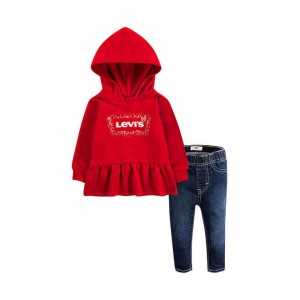 Toddler Girls Peplum Hoodie and Jeans Set