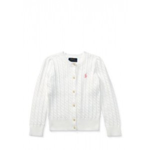Cable-Knit Cotton Cardigan Girls 4-6x