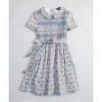 Girls Floral Smocked Cotton Dress