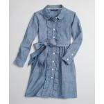 Girls Cotton Chambray Ruffle Shirt Dress