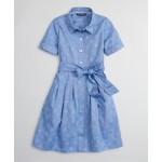 Girls Cotton Jacquard Floral Shirt Dress