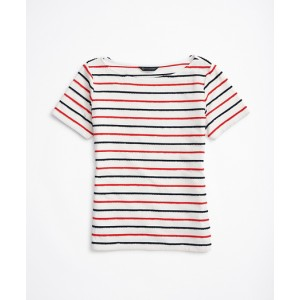Scalloped-Striped Bateau-Neck T-Shirt