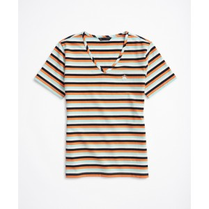 Striped Stretch Cotton V-Neck T-Shirt
