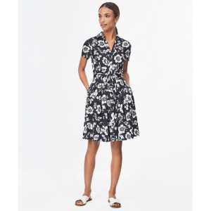 Floral-Print Cotton Sateen Shirt Dress