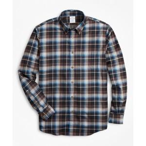 Regent Regular-Fit Sport Shirt, Grey Plaid Brushed Flannel