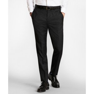 BrooksGate Milano-Fit Striped Wool Twill Suit Pants