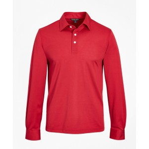 Premium Extra-Fine Supima Cotton Pique Long-Sleeve Polo Shirt