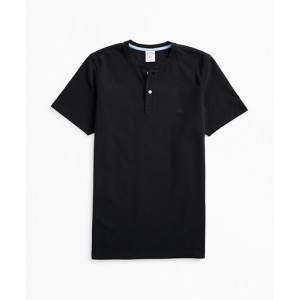Short-Sleeve Cotton Pique Henley