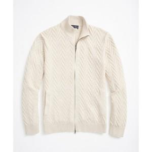 Supima Cotton Chevron Full-Zip Cardigan