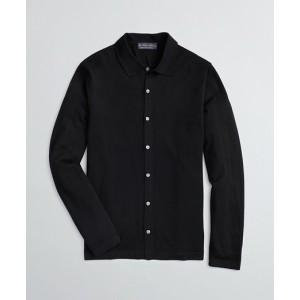 BrooksTech Merino Wool Polo Collar Cardigan