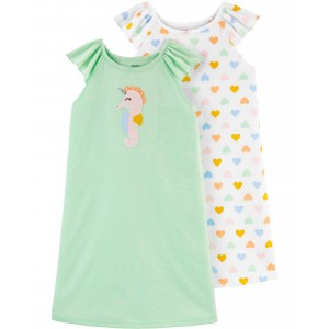 2-Pack Seahorse Nightgowns