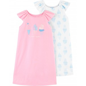 2-Pack Ice Cream Nightgowns