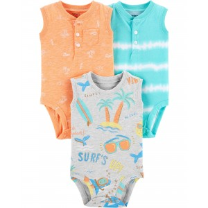 3-Pack Beach Tank Bodysuits