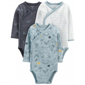 3-Pack Dinosaur Side-Snap Bodysuits