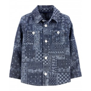 Chambray Bandana Button-Front Shirt
