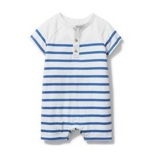 Baby Striped Henley Romper