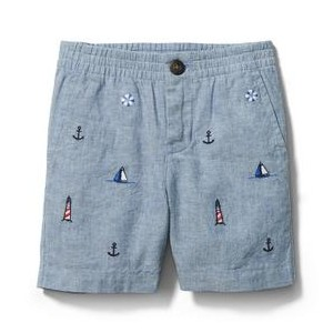 Embroidered Nautical Linen Short