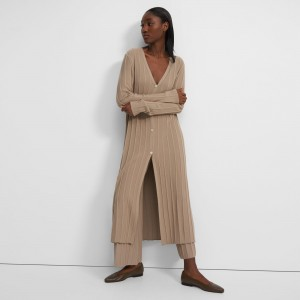 Wide Ribbed Long Cardigan in Empire Wool