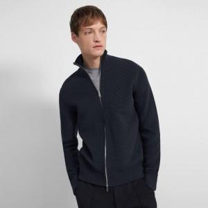 Waffle-Knit Zip Sweater in Organic Cotton