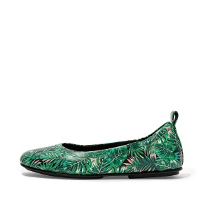 ALLEGRO Jungle-Print Soft Leather Ballet Flats