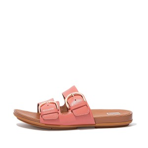 GRACIE Buckle Leather Slides