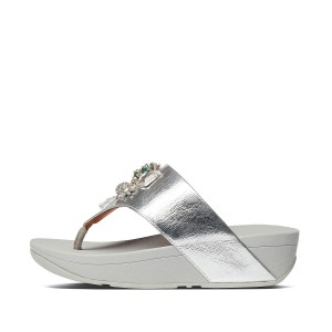 Womens Olive Leather Toe-Thongs