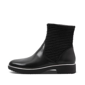 Womens Stretchy Leather-Pu Ankle-Boots