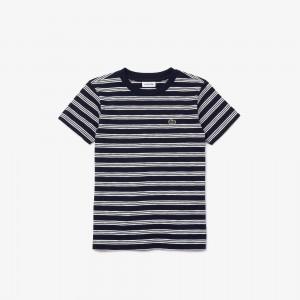 Boys' Crew Neck Tricolor Striped Cotton T-shirt