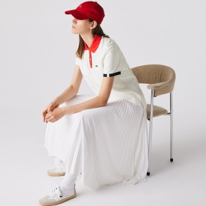 Womens Lacoste Made In France Regular fit Tricolour Organic Cotton Polo Shirt