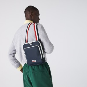 Mens Classic Tricolour Shoulder Strap And Badge Crossbody Bag