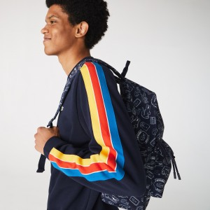 Mens Neocroc Lacoste Pattern Canvas Backpack